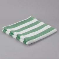Oxford 100% Cotton 30 inch x 60 inch Green Stripe Pool Towel 9 lb. - 36/Case