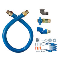 Dormont 16100KITCFS72 Blue Hose Stainless Steel Moveable Foodservice Gas Connector with Quick Disconnect, Swivel, and Restraining Cable - 72 inch x 1 inch