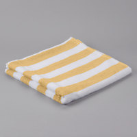 Hotel Pool Towel - Yellow Stripe 30 inch x 60 inch 100% 2 Ply Cotton 9 lb. - 12/Pack
