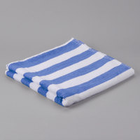 Oxford 100% Cotton 30 inch x 60 inch Blue Stripe Pool Towel 9 lb. - 36/Case