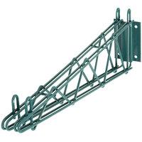 Regency 24 inch Deep Double Wall Mounting Bracket for Adjoining Green Epoxy Wire Shelving