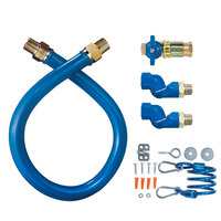Dormont 1675KITCF2S24 Blue Hose Stainless Steel Moveable Foodservice Gas Connector with Quick Disconnect and Two Swivels - 24 inch x 3/4 inch