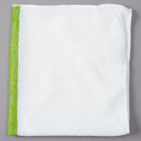 Rubbermaid 1805730 HYGEN Sanitizer Safe 16 inch x 19 inch White Microfiber Cloth with Green Stripe   - 12/Pack