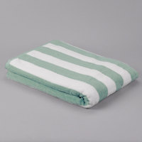 Hotel Pool Towel - Premium Cotton 35 inch x 70 inch 100% Cotton Mint Stripe 20 lb.   - 12/Pack