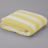 Hotel Pool Towel - Yellow Stripe 30 inch x 70 inch 100% 2 Ply Cotton 15 lb. - 12/Pack