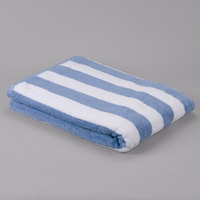 Hotel Pool Towel - Premium Cotton 35 inch x 70 inch 100% Cotton Blue Stripe 20 lb.   - 12/Pack