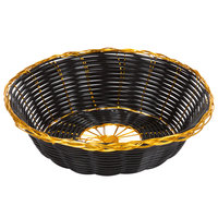 7 3/4 inch Round Black and Gold Rattan Basket