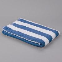 Hotel Pool Towel - Blue Stripe 32 inch x 66 inch 100% 2 Ply Cotton 11 lb.