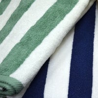 Hotel Pool Towel - Green Stripe 30 inch x 60 inch 100% 2 Ply Cotton 9 lb.
