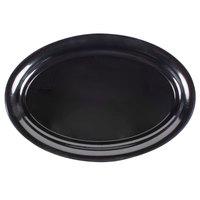 Fineline Platter Pleasers 3514-BK 14 inch x 21 inch Plastic Black Oval Tray
