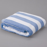 Blue Stripe 15 lb. Hotel Pool Towel - 30 inch x 70 inch 100% 2 Ply Cotton