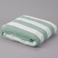 Hotel Pool Towel - Green Stripe 30 inch x 70 inch 100% 2 Ply Cotton 15 lb.
