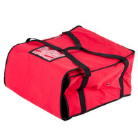 Choice 20 inch x 20 inch x 12 inch Red Nylon Insulated Pizza Delivery Bag - Holds up to (6) 16 inch or (5) 18 inch Pizza Boxes