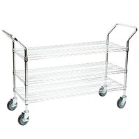 Regency 18 inch x 42 inch Three Shelf Chrome Heavy Duty Utility Cart