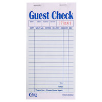 Choice 2 Part Green and White Carbon Guest Check - 10 Books / Pack