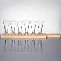 Libbey Craft Brews Beer Flight Set - 6 Pilsner Glasses with Natural Wood Paddle