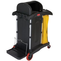 Rubbermaid FG9T7500BLA High Security Janitor Cart with Locking Hood and Cabinets
