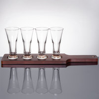 Libbey Craft Brews Beer Flight Set - 4 Pilsner Glasses with Red Brown Wood Paddle