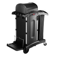 Rubbermaid 1861427 Executive High Security Janitor Cart with Locking Hood and Cabinets