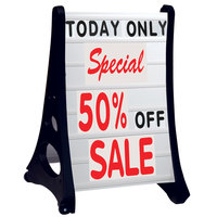 Aarco Roll A-Frame Two Sided White Letterboard with Stand and Deluxe Character Set - 24 inch x 36 inch