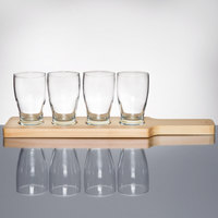 Anchor Hocking Craft Brews Beer Flight - 4 Glasses with Natural Wood Paddle