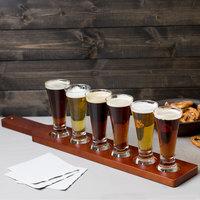 Libbey Craft Brews Beer Flight Set - (6) 4.75 oz. Glasses with Red Brown Wood Paddle
