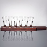 Libbey Craft Brews Beer Flight Set - 6 Pilsner Glasses with Red Brown Wood Paddle