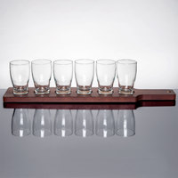 Anchor Hocking Craft Brews Beer Flight - 6 Glasses with Red Brown Wood Paddle