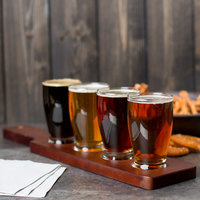 Anchor Hocking Craft Brews Beer Flight - 4 Glasses with Red Brown Wood Paddle
