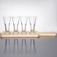 Libbey Craft Brews Beer Flight Set - 4 Pilsner Glasses with Natural Wood Paddle