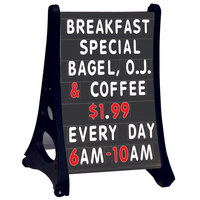 Aarco Roll A-Frame Two Sided Black Letterboard with Stand and Characters - 24 inch x 36 inch