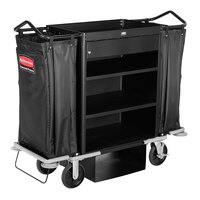 Rubbermaid 1805988BLA Executive Deluxe High Capacity Housekeeping Cart with Locking Drawer