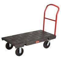 Rubbermaid FG443600BLA Single Handle Heavy Duty Platform Truck - 48 inch x 24 inch