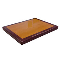 American Tables & Seating ATR3048 Resin Super Gloss 30 inch x 48 inch Rectangle Two Tone Table Top - Cherry and Mahogany