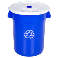 Continental 32 Gallon Blue Recycling Trash Can and Lid Set