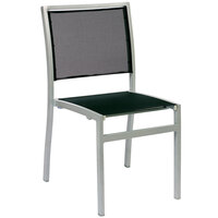 BFM Seating PH102CBLSV Delray Outdoor / Indoor Silver Aluminum Side Chair with Black Batyline Seat and Back