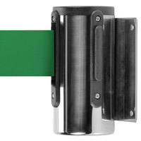 Aarco WM-10C Chrome Wall-Mount Stanchion with 10' Green Retractable Belt