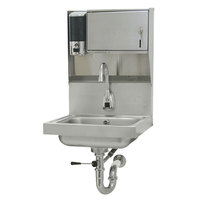 Advance Tabco 7-PS-81 Hands Free Hand Sink with Electric Faucet and Built In Soap and Towel Dispenser
