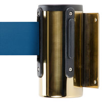 Brass Wall-Mount Stanchion with 10' Blue Retractable Belt