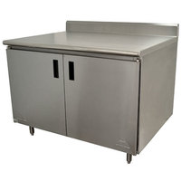 Advance Tabco HK-SS-244 24 inch x 48 inch 14 Gauge Enclosed Base Stainless Steel Work Table with Hinged Doors and 5 inch Backsplash