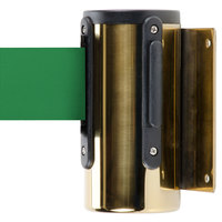 Brass Wall-Mount Stanchion with 10' Green Retractable Belt