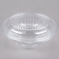 Dart Solo C24HBD PresentaBowls 24 oz. Clear Hinged Plastic Bowl with Dome Lid 75 / Pack
