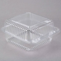 "Dart C25UT1 StayLock 6 1/8"" x 6 1/2"" x 3 1/4"" Clear Hinged Plastic 6"" Square Container - 125/Pack"