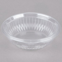 Dart C24HBF PresentaBowls 24 oz. Clear Hinged Plastic Bowl with Flat Lid - 75/Pack