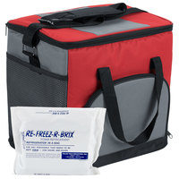 Choice Soft Sided 11 1/2 inch x 8 inch x 11 1/2 inch Red Insulated Nylon Cooler with Foam Freeze Pack Kit