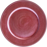 The Jay Companies 1270173 13 inch Round Pink Beaded Plastic Charger Plate