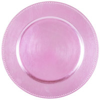 The Jay Companies 13 inch Round Pink Beaded Melamine Charger Plate