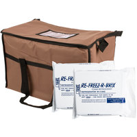 Choice Insulated Leak Proof Cooler Bag / Soft Cooler, Brown Nylon 22 inch x 13 inch x 14 inch, with Foam Freeze Pack