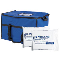 Choice Soft Sided 22 inch x 13 inch x 14 inch Blue Insulated Nylon Cooler Bag with Foam Freeze Pack Kit