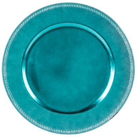 The Jay Companies 1270171 13 inch Round Aqua Beaded Melamine Charger Plate